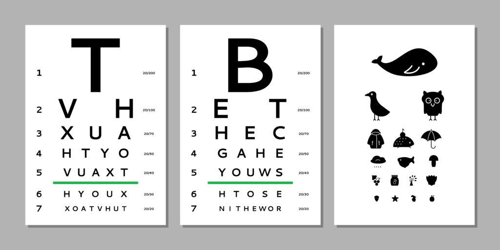 Ilustração com 3 tipos de teste de acuidade visual que podem ser feitos por oftalmologistas pediátricos.
